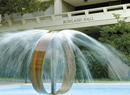 The Infinity Fountain between Rowland Hall and Reines Hall